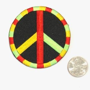 Accessories - Peace sign patch iron on rasta hippie retro DIY